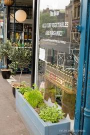 Narrow planters outside shops